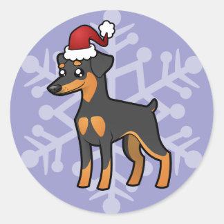 Christmas Miniature Pinscher / Manchester Terrier Classic Round Sticker