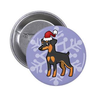 Christmas Miniature Pinscher / Manchester Terrier Pinback Button