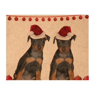 Christmas Miniature Pinschers Cork Paper Prints