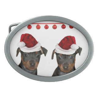 Christmas Miniature Pinschers Oval Belt Buckle