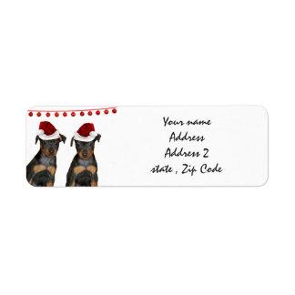 Christmas Miniature Pinschers Return Address Label