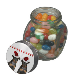 Christmas Miniature pInshcers Jelly Belly Candy Jars