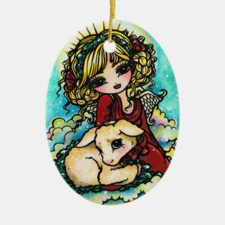 Christmas Miracle Angel Art by Hannah Lynn Ceramic Ornament