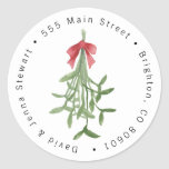 "Christmas Mistletoe Address Label Sticker<br><div class=""desc"">""click to customize further"" if you have any further editing that is needed.</div>"