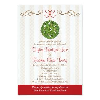 CHRISTMAS MISTLETOE COUPLES WEDDING SHOWER CARD