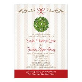 CHRISTMAS MISTLETOE COUPLES WEDDING SHOWER INVITATIONS