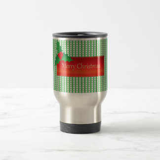 Christmas Mistletoe Holly Pattern Green and Red Travel Mug