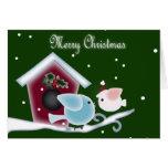 Christmas mistletoe Kiss birds Stationery Note Card
