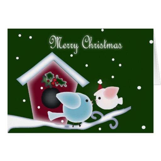 Christmas mistletoe Kiss birds Greeting Card
