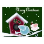 Christmas mistletoe Kiss birds Postcard