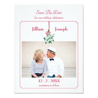 Christmas Mistletoe Photo Save The Date Card