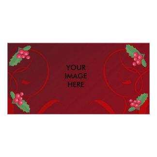 christmas, mistletoe, photocard customized photo card