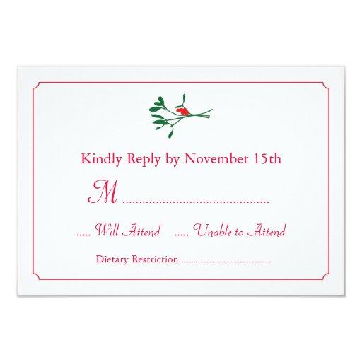 """Christmas Mistletoe RSVP Card Invitation 3.5"""" X 5"""" Invitation Card"""