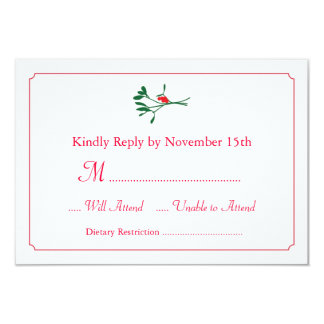 Christmas Mistletoe RSVP Card Invitation