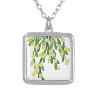 christmas mistletoe square pendant necklace