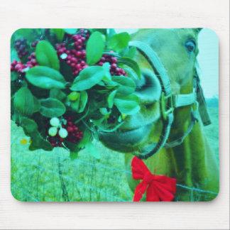 Christmas Mistletoe Teal Horse Mousepads