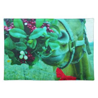 Christmas Mistletoe Teal Horse Place Mat