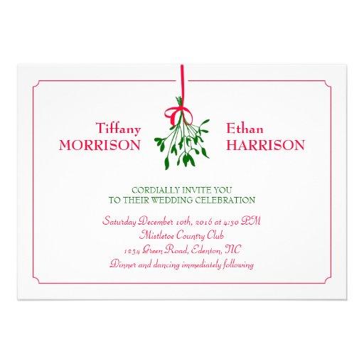 Christmas Mistletoe Wedding Invitation