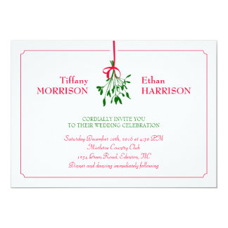 Christmas Mistletoe Wedding Invitation