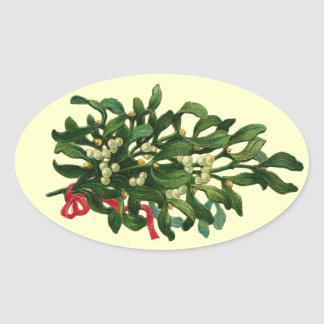 CHRISTMAS MISTLETOES  WITH RED RIBBON OVAL STICKER