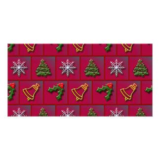 Christmas mix pattern photo card template