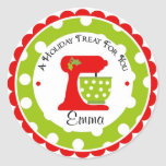 Christmas Mixing Bowl wit Polka Dots Classic Round Sticker