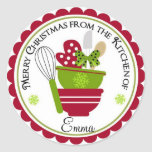 Christmas Mixing Bowls and Baking Mit Classic Round Sticker