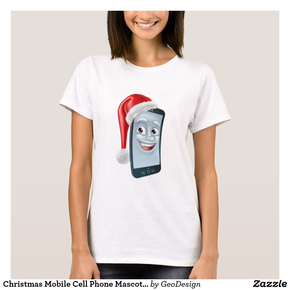Christmas Mobile Cell Phone Mascot in Santa Hat T-Shirt - Best Selling Long-Sleeve Street Fashion Shirt Designs