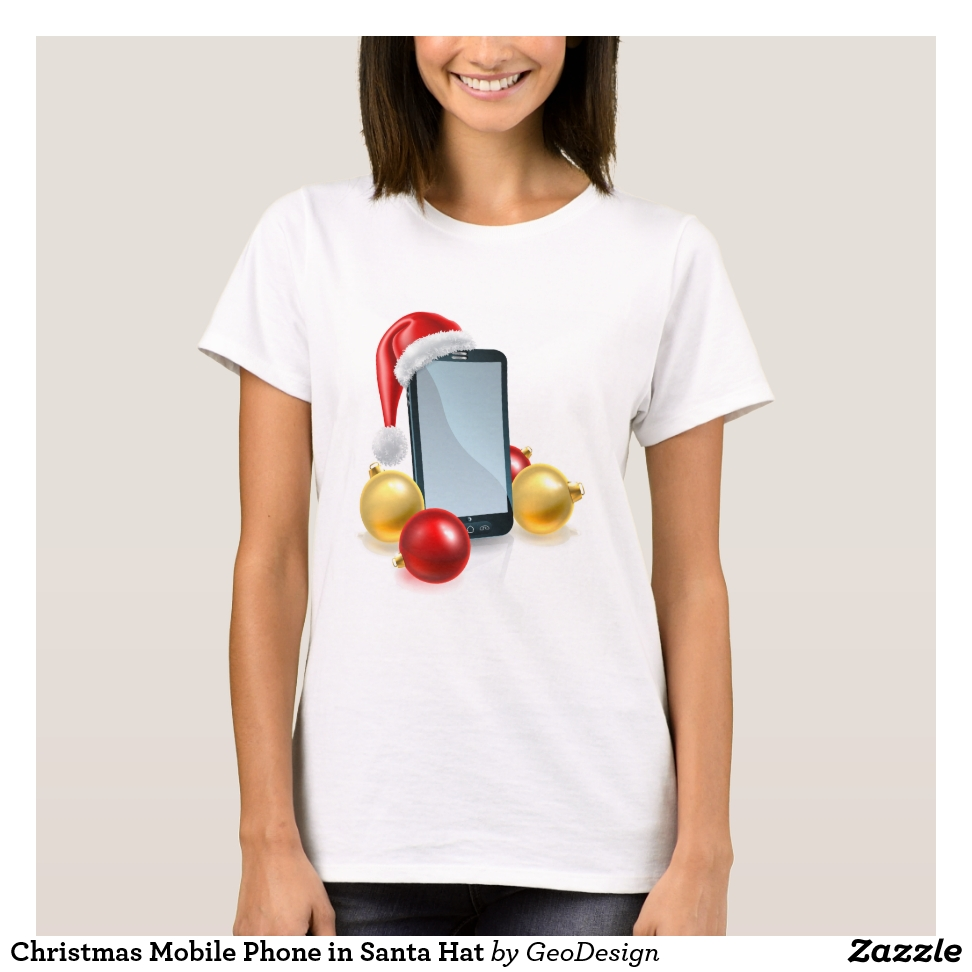 Christmas Mobile Phone in Santa Hat T-Shirt - Best Selling Long-Sleeve Street Fashion Shirt Designs