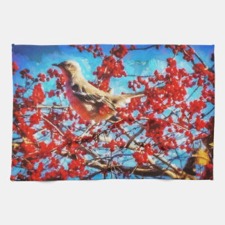 Christmas Mockingbird Kitchen Towels