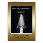 Christmas, Mom and Dad,  Religious Greeting Card