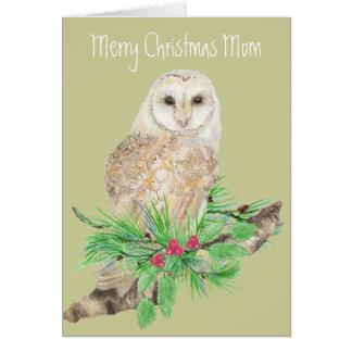 Christmas Mom Barn Owl Greeting Card