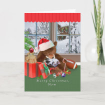 Christmas, Mom, Cat, Teddy Bear, Card