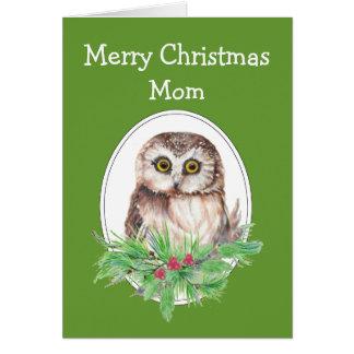 Christmas Mom Cute Owl Bird Holly and PIne Card