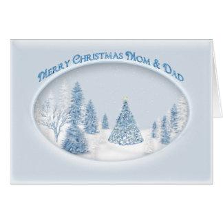 CHRISTMAS - MOM/DAD- BLUE - SNOW/TREE/SCENIC CARD