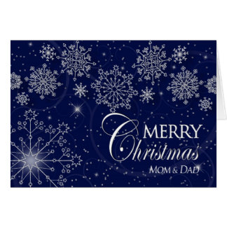 CHRISTMAS - MOM & DAD - NAVY/SNOWFLAKES CARD
