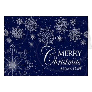 Christmas Themed CHRISTMAS - MOM & DAD - NAVY/SNOWFLAKES CARD