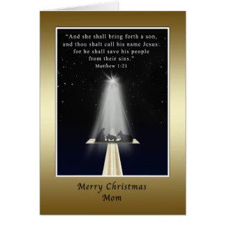 Christmas, Mom, Religious, Nativity and Cross Card