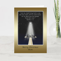 Christmas, Mom, Religious, Nativity and Cross Holiday Card