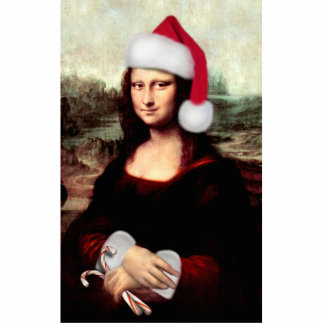 Christmas Mona Lisa Wearing Santa Hat Standing Photo Sculpture