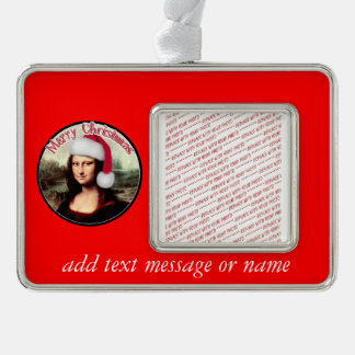Christmas Mona Lisa wears a Santa Hat Silver Plated Framed Ornament