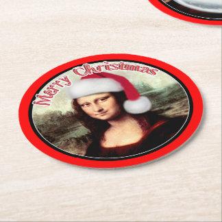 Christmas Mona Lisa wears a Santa Hat Round Paper Coaster