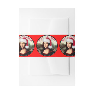 Christmas Mona Lisa wears a Santa Hat Invitation Belly Band