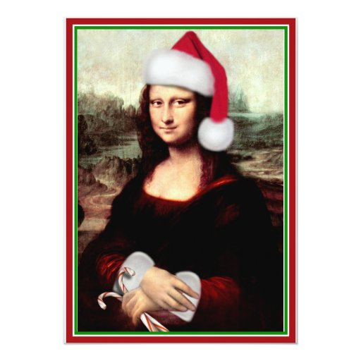 Christmas Mona Lisa With Santa Hat 5x7 Paper Invitation Card
