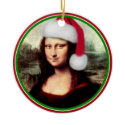 Christmas Mona Lisa With Santa Hat Double-Sided Ceramic Round Christmas Ornament