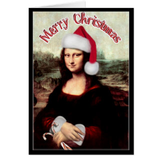 Christmas Mona Lisa with Santa Hat Greeting Card