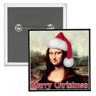 Christmas Mona Lisa With Santa Hat Pinback Button