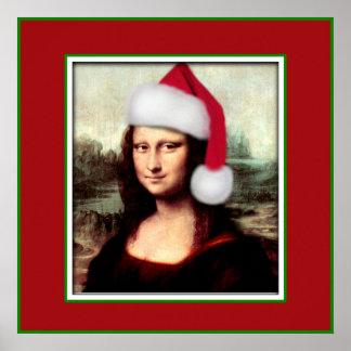 Christmas Mona Lisa With Santa Hat Poster