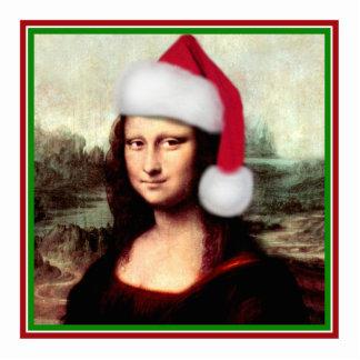 Christmas Mona Lisa With Santa Hat Standing Photo Sculpture