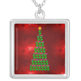 Christmas Money Tree Square Pendant Necklace
